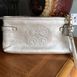 Coach leather large wristlet